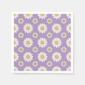 Lavendel-lila weißes Gänseblümchen-Blumenhochzeit Serviette