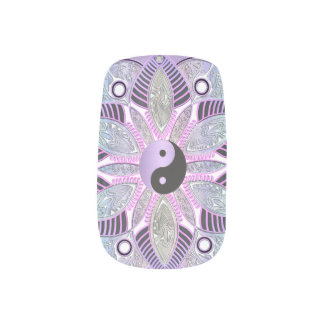 Lavendel lila Yin Yang Lotos-BlumeMandala Minx Nagelkunst