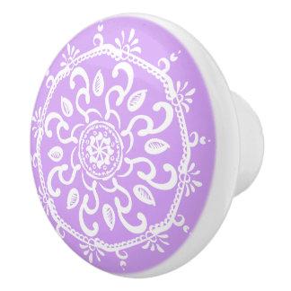 Lavendel-Mandala Keramikknauf