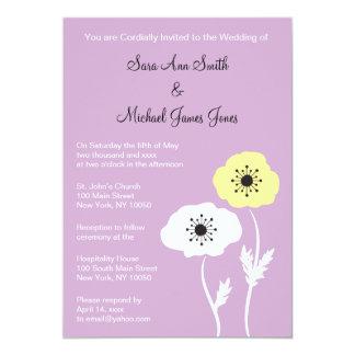 Lavendel-Mohnblumen-Frühlings-Hochzeits-Einladung 12,7 X 17,8 Cm Einladungskarte