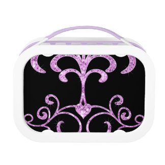 Lavendel-Orchideen-Diamant-Herz-Wirbel Brotdose