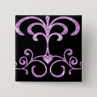 Lavendel-Orchideen-Diamant-Herz-Wirbel Quadratischer Button 5,1 Cm