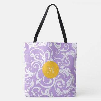 Lavendel-Pfirsich-Blumentapeten-Strudel-Monogramm Tasche