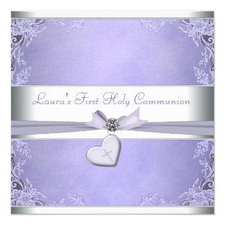 Lavendel-Quermädchen-lila erste Kommunion Quadratische 13,3 Cm Einladungskarte
