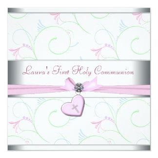Lavendel-rosa Herz-Rosa-Kreuz-erste Kommunion Quadratische 13,3 Cm Einladungskarte