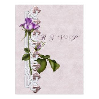 Lavendel-Rosen-Hochzeits-Reihe UAWG Postkarte