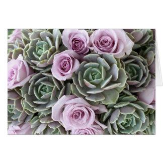Lavendel Rosen- und echeveriaskarte Karte