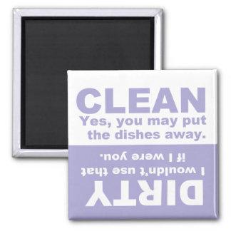 Lavendel-sauberer schmutziger Spülmaschinen-Magnet Quadratischer Magnet