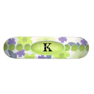 Lavendel-tadelloses Frühlings-Blumen-Monogramm 18,7 Cm Mini Skateboard Deck