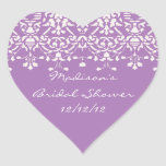 Lavendel u. weißer Herz-Aufkleber