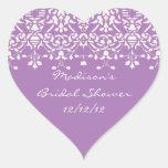 Lavendel u. weißer herzaufkleber