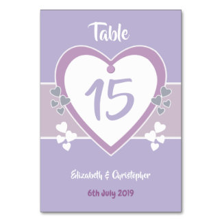 Lavendel-und Flieder-Wedding Tischnummer-Karten Karte