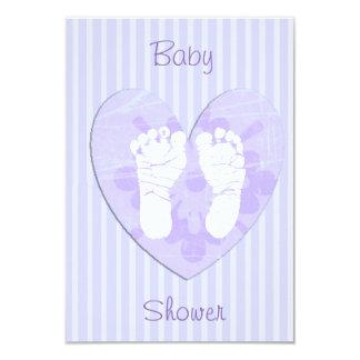 Lavendel und lila Baby-Abdruck-Baby-Dusche 8,9 X 12,7 Cm Einladungskarte