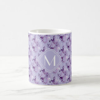 Lavendel und lila Damast-Muster mit Monogramm Kaffeetasse