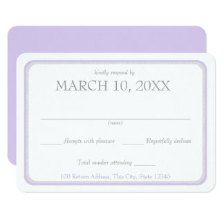 Lavendel-und Silber-Band-Grenzhochzeits-Antwort 8,9 X 12,7 Cm Einladungskarte