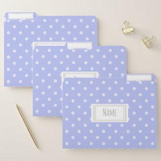 Lavendel und weißer Tupfen-Muster-Name/Thema Papiermappe