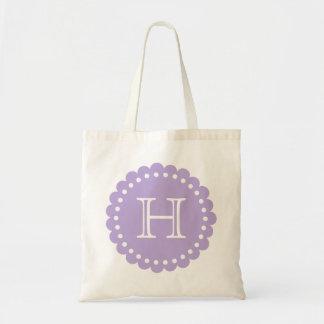 Lavendel und weißes Polka-Punkt-Blumen-Monogramm Tragetasche