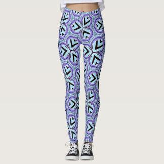 Lavendelaqua-geometrisches Blatt Druckgamaschen Leggings