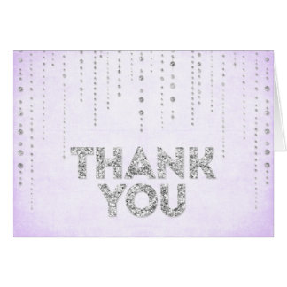 Lavender & Silver Glitter Look Thank You Card