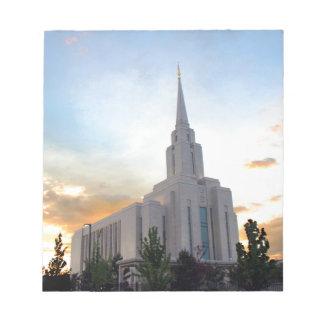 LDS mormonischer Oquirrh Gebirgsutah-Tempel Notizblock