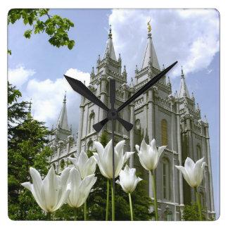 LDS Tempel Quadratische Wanduhr