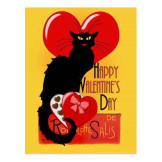 Le Chat Noir - der glückliche Tag des Valentines Postkarte