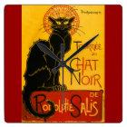 Le Chat Noir die schwarze Katzen-Kunst Nouveau Quadratische Wanduhr