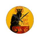 Le Chat Noir die schwarze Katzen-Kunst Nouveau Runde Wanduhr