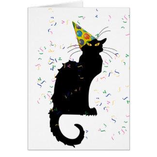 Le Chat Party Hut u. Confetti Karte