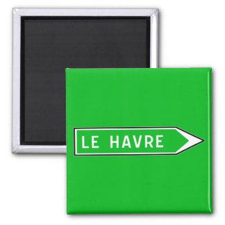 Le Havre, Verkehrsschild, Frankreich Quadratischer Magnet