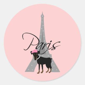 Le kleines Chien à Paris Runder Aufkleber