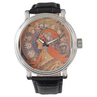 Le Plume Dame mit Tierkreis-Symbolen Uhr
