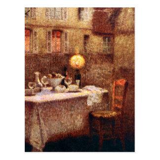 Le Sidaner: Tabelle im Abend Postkarte