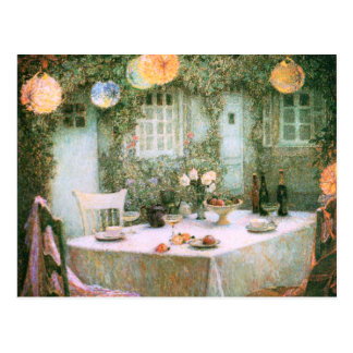 Le Sidaner: Tabelle mit Laternen Postkarte