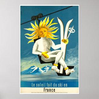 Le Soleil fait du ski en Frankreich, Ski-Plakat Poster