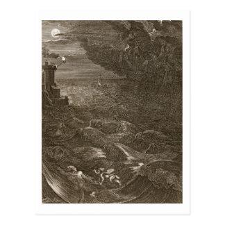 Leander schwimmt über dem Hellespont, um seinen Postkarte
