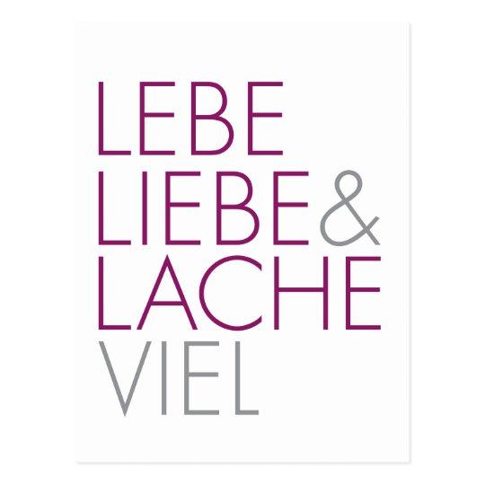 Lebe Liebe & Lache viel Postkarte