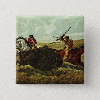 Leben auf dem Grasland - die Büffel-Jagd, 1862 Quadratischer Button 5,1 Cm