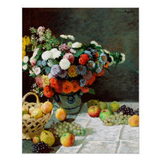 Leben Claudes Monet noch mit Blumen und Frucht Poster