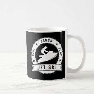 Leben der Lachen-Liebe-Jet-Ski-Kreis (weiß) Kaffeetasse