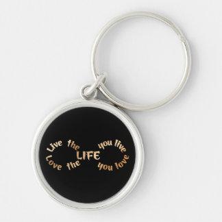 Leben die Leben-Unendlichkeit auf Schwarzem Schlüsselanhänger