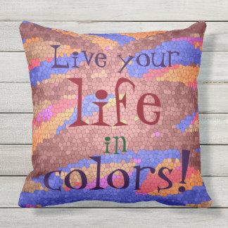 Leben Ihr Leben im Farbespaß-bunten Mosaik Kissen