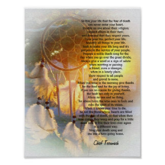 """""""Leben Ihr Leben"""" Tecumseh Dreamcatcher Poster"""