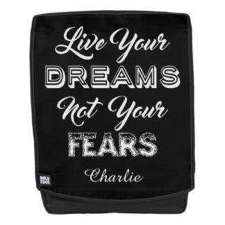 Leben Ihre Träume individueller Name u. färben Rucksack
