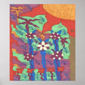 Leben im Garten-abstrakten Kunst-Plakat-Druck Poster