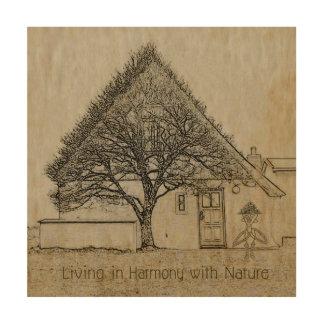 Leben in Übereinstimmung mit Natur Holzdruck