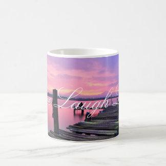 Leben Lachen-Liebe-Dock-Sonnenuntergang-Tasse Kaffeetasse