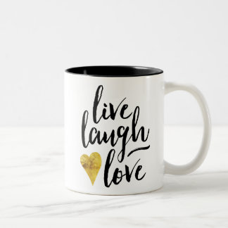 Leben Lachen-Liebe-Kaffee-Tasse Zweifarbige Tasse