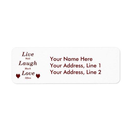 Leben Lachen-Liebe Kleiner Adressaufkleber