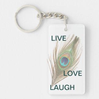 Leben Lachen-Liebe-Pfau-Feder-Acryl Keychain Schlüsselanhänger